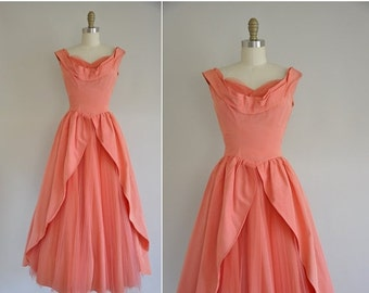 20% OFF SHOP SALE... 50s dress / 1950s peachy pink ball gown / vintage 1950s dress