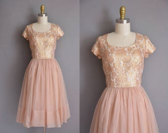 50s vintage dress. 50s floral metallic vintage chiffon party dress