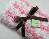 Baby Girl Blanket - Crochet baby blanket White/Pink Shell Waves Stroller/Travel/Car seat blanket-Baby girl shower gift- Baby blanket