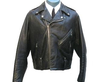 Harley Davidson AMF Motorcycle Jacket Vintage 1970s Mens Black Leather Riders  Biker Jacket with Built In Kidney Belt Mns US Size 42