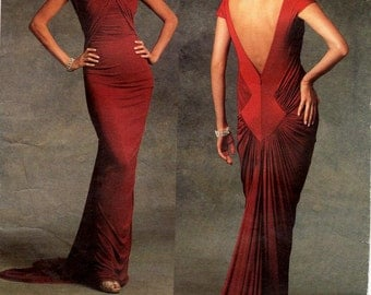 Sz 12/14/16 - Vogue Pattern V1078 by GUY LAROCHE - Misses' Fitted Evening Dress with Front & Back Gather Details - Vogue Paris Original
