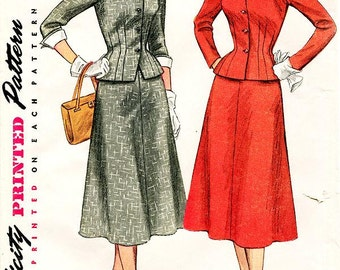 Sz 18/Bust 36 - Vintage 1950s Sewing Pattern - Simplicity 4183 - Misses' Two-Piece Skirt Suit With Detachable Collar and cuffs