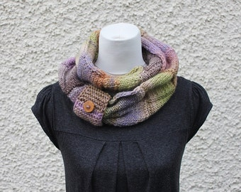 knitted scarf, infinity loop scarf, multicolour scarf, beige lilac snood, neckwear, gift for her, scarf uk