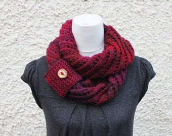 SCARF, knitted infinity loop scarf, burgundy diagonal lace scarf, multicolour scarf, gift for her