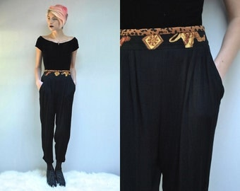 Harem Pants  //  High Waisted Pants  //  Black Rayon Pants  // THE MASTRADONIAN