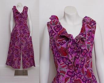 1960s palazzo jumpsuit | purple Hawaiian print