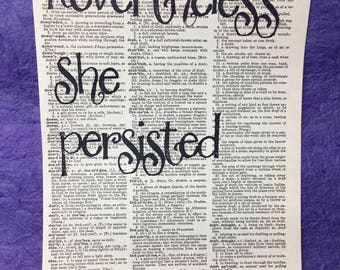 Nevertheless She Persisted Dictionary Page print
