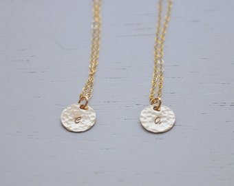 Gold Disc Initial Necklace 9.5mm - round charm gold filled hammered dot small circle personalized layering letter pendant handmade gift