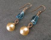 Gold South Sea pearl earrings with London blue topaz, handmade 14k gold earrings-OOAK