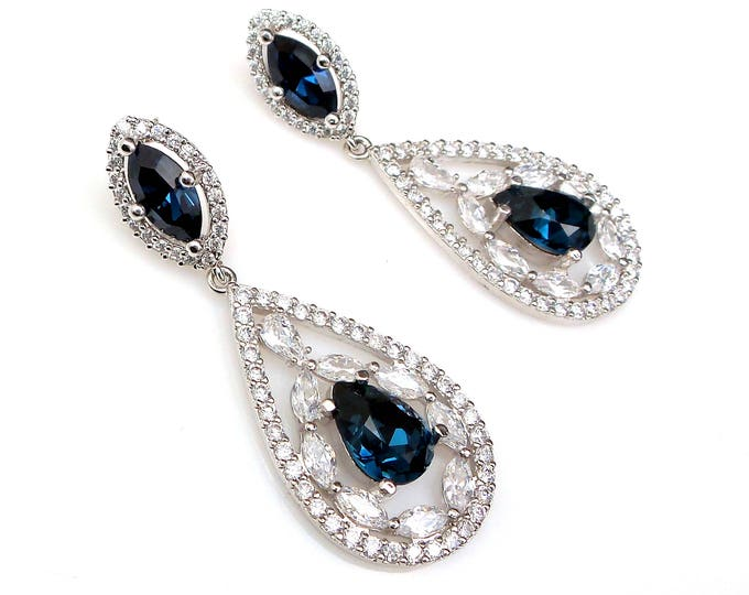 cluster wedding jewelry bridal earrings bridesmaid gifts swarovski montana blue crystal rhodium mosaic clear teardrop cz marquise post