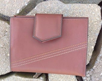 Vintage AMITY Leather Wallet / Amity Cardette Wallet / Brown Cowhide Amity Wallet / NOS
