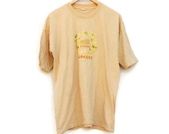 Vintage 90s Embroidered Athens Greece T-shirt/ Greek Athens Souvenir