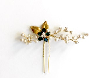 maya - emerald and pearls bridal hair pin, pearl hair pin, golden hair pin