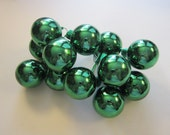 12 glass ornament picks - 1.125 inch glass balls - miniature ornament picks - green glass ball picks