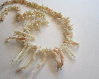 vintage necklace - pink coral, coral branch beads - 18 inches - as is