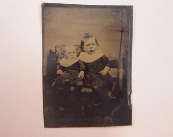 antique tintype photo - two children, baby, infant - TT592