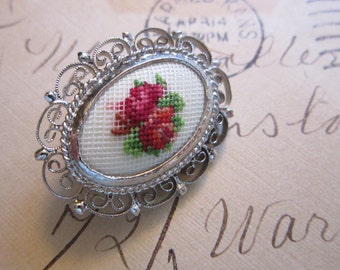 vintage petit point brooch  micro stitching - floral pattern