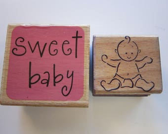 2 rubber stamps - SWEET BABY, baby stamp - used rubber stamps