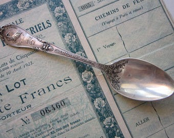 antique GORHAM sterling ZODIAC spoon - DECEMBER Capricorn spoon - Capricornus -  patent 1894