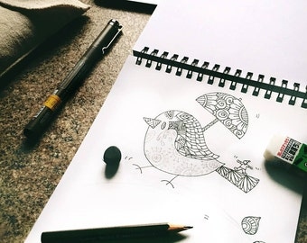 zentangle bird printable coloring page ~ animal - Instant Download only, Art Printable illustrations