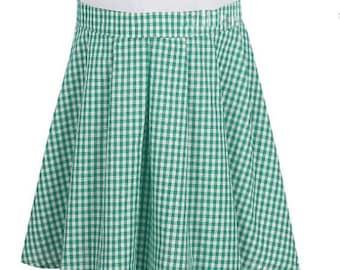 Green Gingham Circle Skirt with Pleats. Extra Fullness for Picnic Fun. Summer Check Skirt Gingham Skirt FREE SHIP Also Red Gingham Skirt