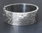 RESERVED LAYAWAY Sterling Silver Bangle Bracelet, Vintage 1952 Floral Swirl Ivy Vine Engraved Hallmarked Lady's Cuff with Clasp