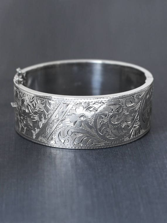 Sterling Silver Bangle Bracelet, Vintage 1952 Floral Swirl Ivy Vine Engraved Hallmarked Lady's Cuff with Clasp - Garden Beauty
