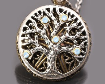 Opal Tree Of Life Necklace Tree Of Life Necklace Tree Of Life Pendant Working Compass Locket