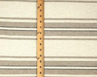 Varsity Taupe Light and Dark Brown Horizontal Stripe Fabric