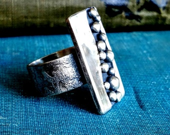Sterling Silver Ring, Rustic Jewelry, metalsmith,Handmade,unique,one of a kind