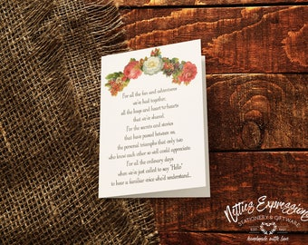 SALE - Floral Friendship, Birthday Card, Greeting Card, Card, Happy Birthday Card, Friendship Birthday Card, Friendship Card, Floral Card
