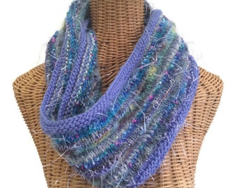 Lavender Scarf Infinity Scarf Knitted Wool Scarf Violet Cowl Hand Knit Scarf Hand Tied Yarn Mohair Scarf Periwinkle Scarf Knit Neck Warmer