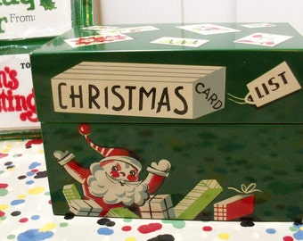 Vintage Christmas List Recipe Box and Tags
