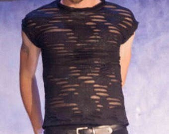 Men's gothic  black stretch shirt, distressd monster melt fabric.