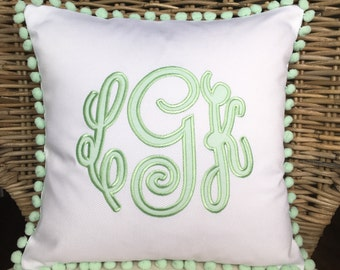 Monogrammed Appliqué Pompom Pillow