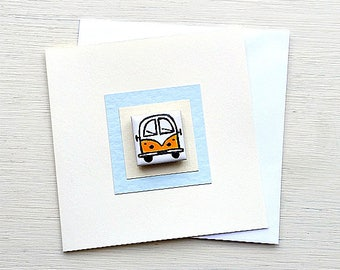 Campervan Card Yellow, Combi, VW, Birthday Card, Greeting Card, Blank Card, Magnet Card, Childrens Card