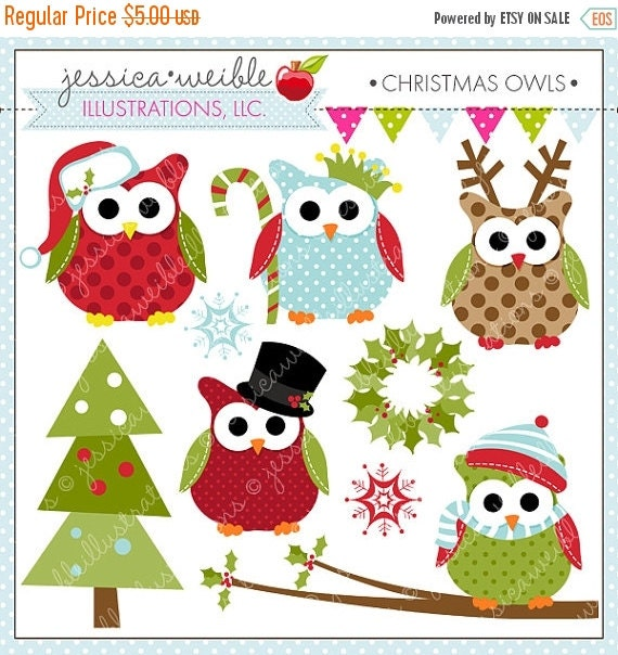 ON SALE Christmas Owls Cute Digital Clipart for Commercial or Personal Use, Christmas Clipart, Christmas Graphics