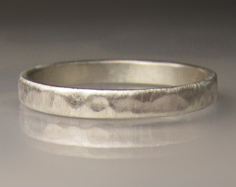 Ladies Hammered Recycled Palladium Sterling Silver Wedding Band