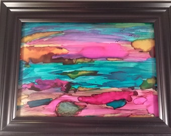Framed Landscape Painting on Yupo Paper with Alcohol Ink