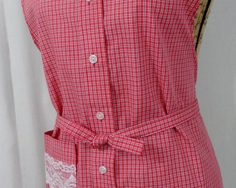 Shirt Apron, Man's Upcycled Shirt, Bridal Shower Gift, Sexy Apron, Repurposed, Red Plaid with a Touch of Lace