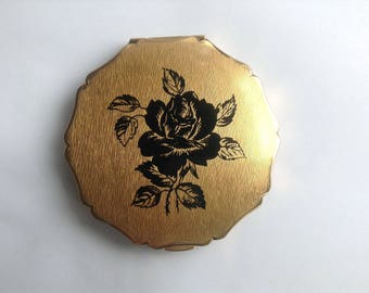 SALE, Vintage Stratton Compact Mirror, Black Rose Detail, Gold Coloured, 1950s/60s, Rockabilly