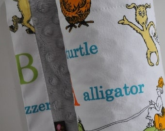 Baby Blanket, X LARGE, Snuggle Size, Dr. Seuss Alphabet and Grey Minky