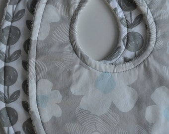 Set of 2 Baby Grey Flower Terry Cloth Snap Bibs