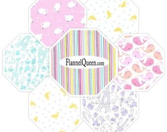 Baby Girl Coordinates FQ Flannel Fabric Bundle Michael Miller - Contains 7 Fat Quarters