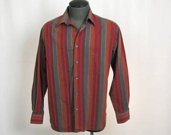 Vintage Perry Ellis Men's Dark Stripped Cotton Long Sleeve Shirt