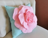 SALE Baby Pink Rose on Aqua Pillow Baby Nursery Decor