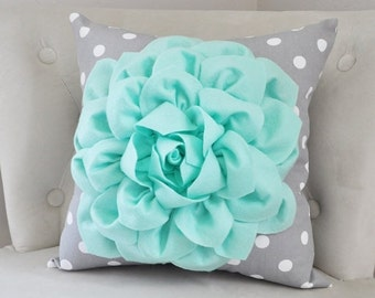 SALE Mint Green Throw Pillow with Gray and White Polka Dot. Mint Home Decor Aqua Seafoam Mint Decor. Mint Nursery Decor. Mint Bedroom Home D