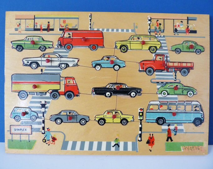 Vintage wooden Simplex cars and vehicles puzzle tray