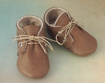 Brown Leather Baby Shoes | Newborn size up to 18 Months