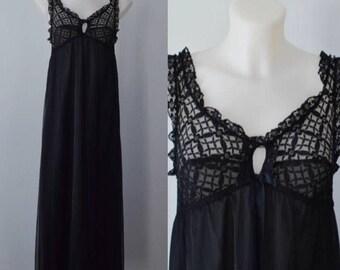 Vintage Black Chiffon Nightgown, Chiffon Nightgown, 1970s Chiffon Nightgown, St Michael,  Romantic, Nightgown